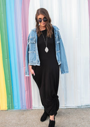 black maxi dress with pockets for Fall