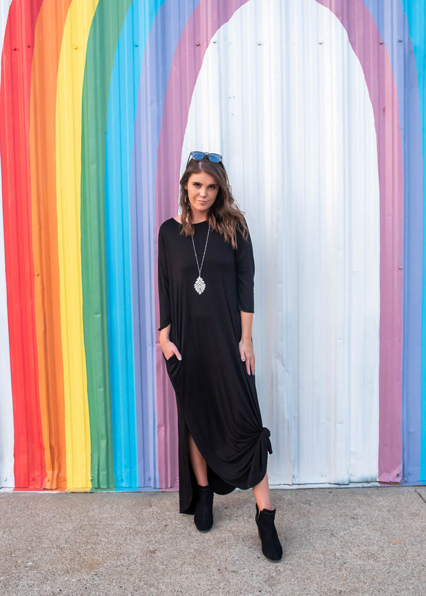 black maxi dress with pockets for casual fashion