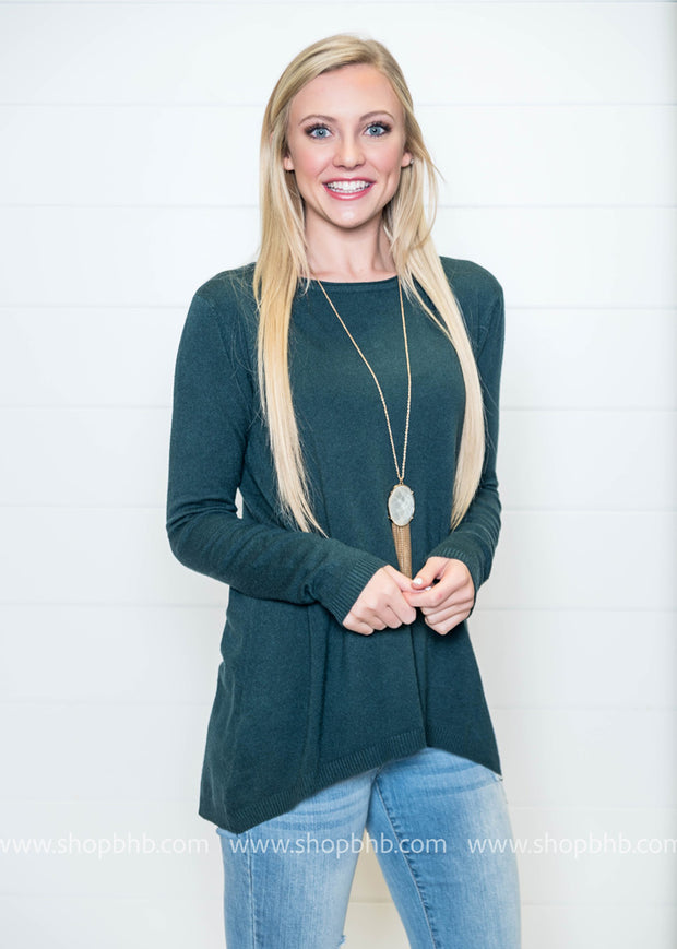 This sweater tunic is the perfect shade of hunter green