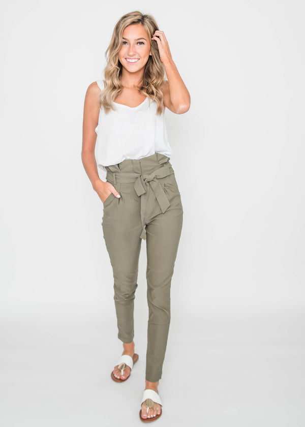 High Waisted Belted Pants | FINAL SALE, CLOTHING, Active Basic, BAD HABIT BOUTIQUE