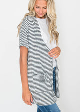 Short Sleeve Stripe Cardigan - Cielo, CLOTHING, CIELO, BAD HABIT BOUTIQUE