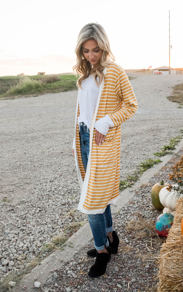 Striped Duster Flyaway Cardigan, CLOTHING, Heimish, BAD HABIT BOUTIQUE