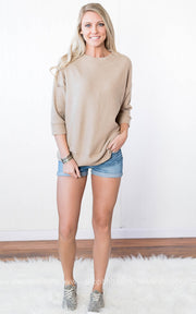 Ribbed 3/4 Sleeve Dolman Top - FINAL SALE