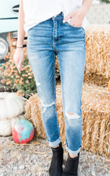 Haylie High Rise Distressed Ankle Skinny Jeans - Vervet, CLOTHING, VERVET, BAD HABIT BOUTIQUE