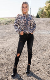 Cheetah Peek-a-Boo Shoulder Tunic, CLOTHING, Heimish, BAD HABIT BOUTIQUE