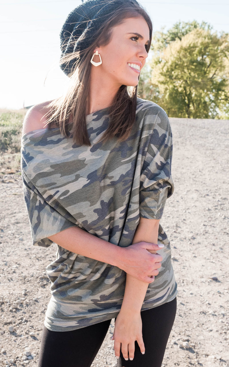 Off the Shoulder Camo Tunic | FINAL SALE, CLOTHING, Heimish, BAD HABIT BOUTIQUE