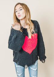 Popcorn Heart Distressed Black Sweater