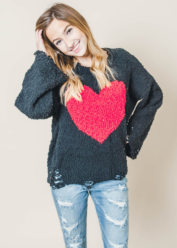 black distressed crewneck long sleeve popcorn red heart sweater