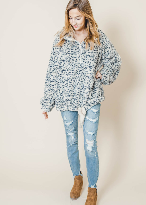 cheetah sherpa drawstring oatmeal half zip sweater