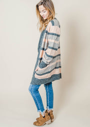 striped pink taupe long sleeve pocket cardigan