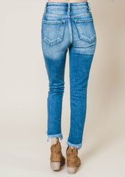 High rise frayed ankle skinny jean Kan Can