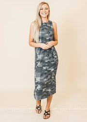 sleeveless camo midi dress with side slits