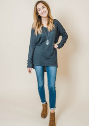long sleeve waffle high low vneck sweater