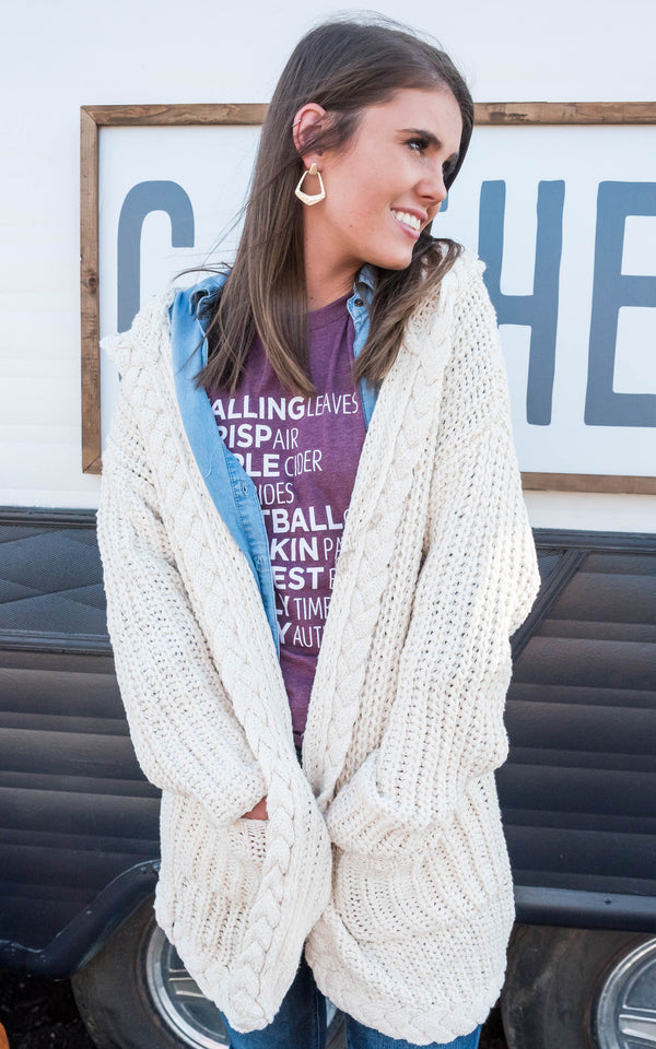 Chunky Knit Hooded Cardigan, CLOTHING, MIRACLE, BAD HABIT BOUTIQUE
