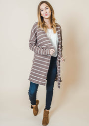 striped long sleeve knit cardigan mocha olive charcoal
