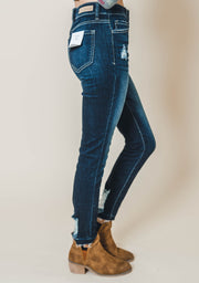 mid rise crop skinny, cello, crop denim, denim, mid rise, cello jeans, dark denim