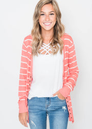 Striped Classic Snap Cardigan
