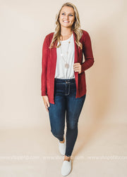 red boyfriend cardigan with pockets