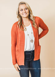 rust boyfriend cardigan with pockets