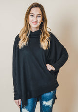 Thermal Turtle Neck Oversized Top - Final Sale, CLOTHING, Cherish, BAD HABIT BOUTIQUE
