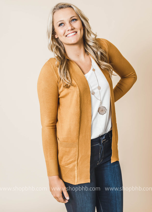 mustard boyfriend cardigan with pockets