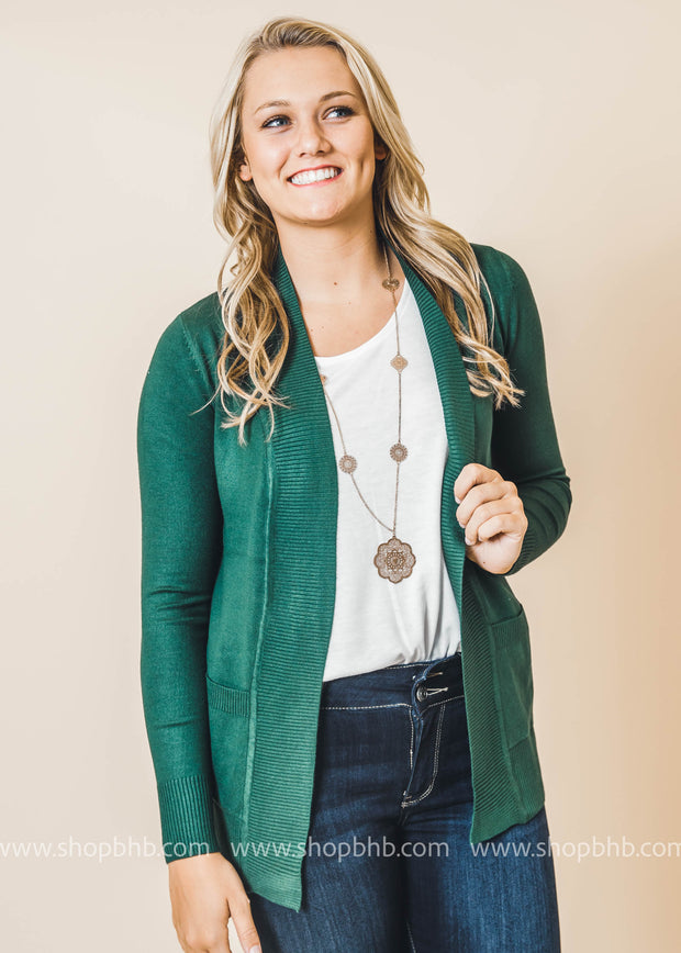 green boyfriend cardigan with pockets