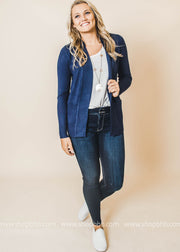 navy boyfriend cardigan with pockets
