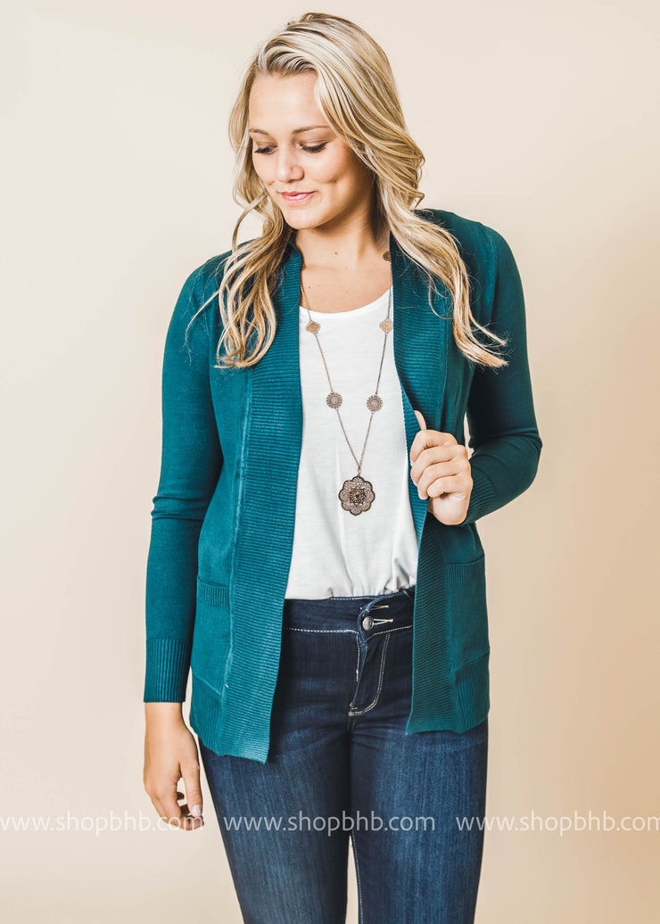 teal boyfriend cardigan with pockets