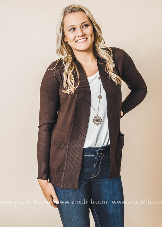 brown boyfriend cardigan with pockets