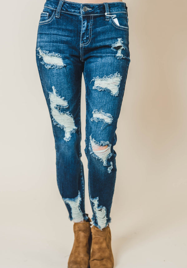 Distressed Medium Wash Skinny Jeans-CELLO | FINAL SALE, CLOTHING, CELLO, BAD HABIT BOUTIQUE
