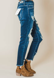 distressed medium wash skinny jean, cello, distressed denim, mid rise, cello jeans