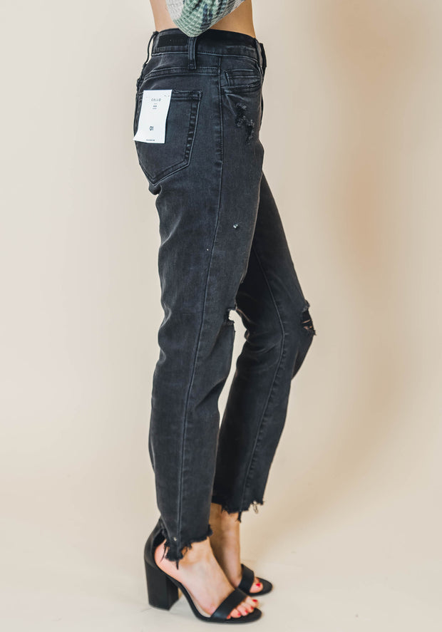 High Rise Frayed Hem Mom Black Skinny Jean | FINAL SALE, CLOTHING, CELLO JEANS, BAD HABIT BOUTIQUE