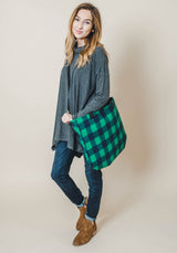 Buffalo Plaid Tote -Green/Navy, ACCESSORIES, BAD HABIT BOUTIQUE , BAD HABIT BOUTIQUE