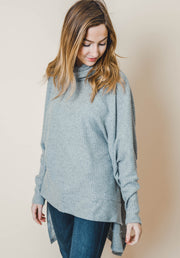 turtle neck thermal oversized long sleeve tunic top blush heather gray black