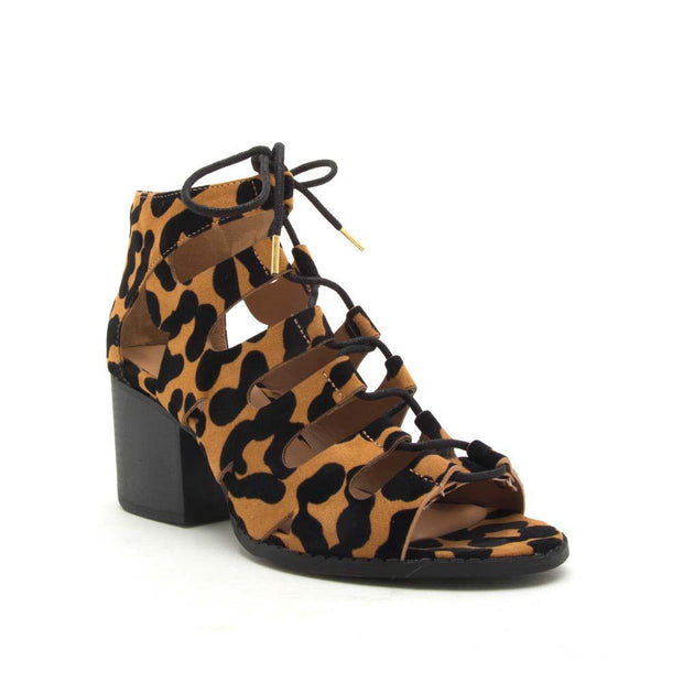 Check out these Core-135x leopard strappy tie up sandals.