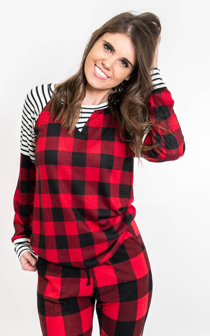 Buffalo Plaid & Stripes Top - Final Sale, CLOTHING, Burgundy Apparel, BAD HABIT BOUTIQUE