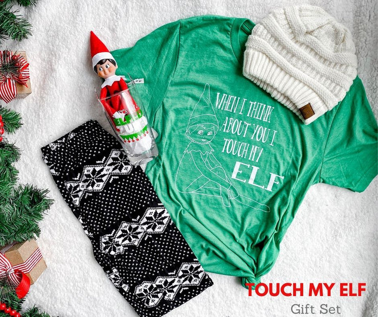 touch my elf tshirt, buddy the elf, lets get elfed up glass, holiday leggings, holiday gift sets, gifts for christmas