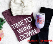 time to wine down t-shirt, cc beanie, mommy's sippy cup tumbler, black leggings