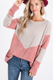 Charming Velvet Sweater, sweater, colorblock sweater, long sleeve, sweaters