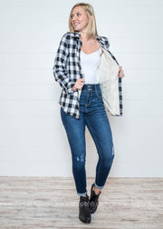 Buffalo Plaid Button Up- Black & White, SALE, Now N Forever, badhabitboutique