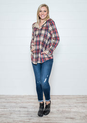 Plaid Fleece Pullover- Taupe