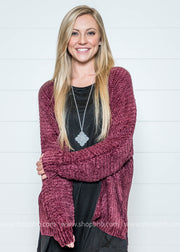 Wrap up in this soft burgundy chenille cardigan