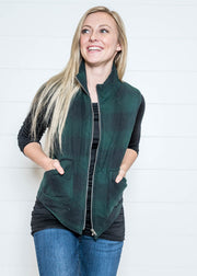 Keep warm in this hunter green flannel vest with quilted pattern