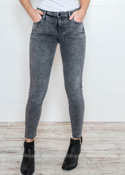 Cello Mid Rise Acid Wash Crop Skinny Jean - Final Sale