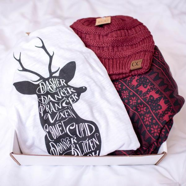 GIFT BOX | Reindeer Games |  Maroon C.C. Beanie, Top, Maroon Holiday Fleece Leggings, GIFT BOXES, BAD HABIT APPAREL, badhabitboutique