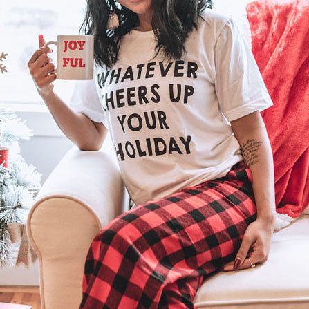 GIFT SET: Whatever Cheers Up Your Holiday  | Mug & Buffalo Plaid Pants, GIFT BOXES, BAD HABIT BOUTIQUE , badhabitboutique