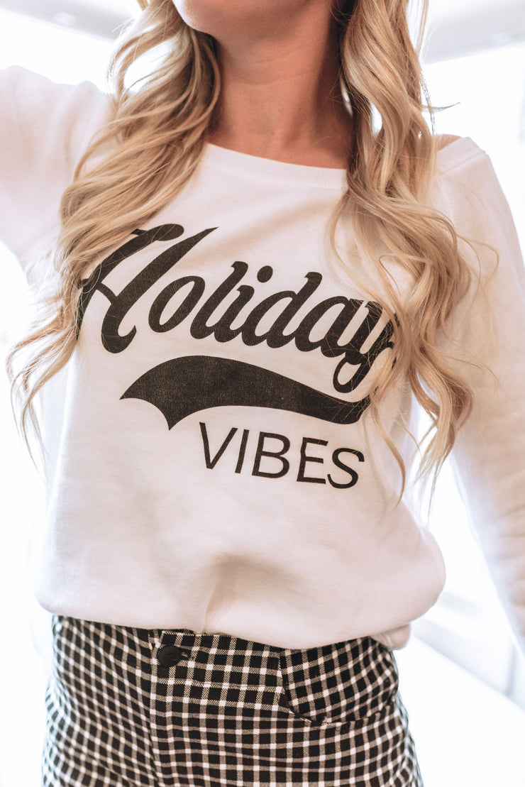 Holiday Vibes Slouchy Sweatshirt | WHITE, CHRISTMAS, BAD HABIT APPAREL, badhabitboutique
