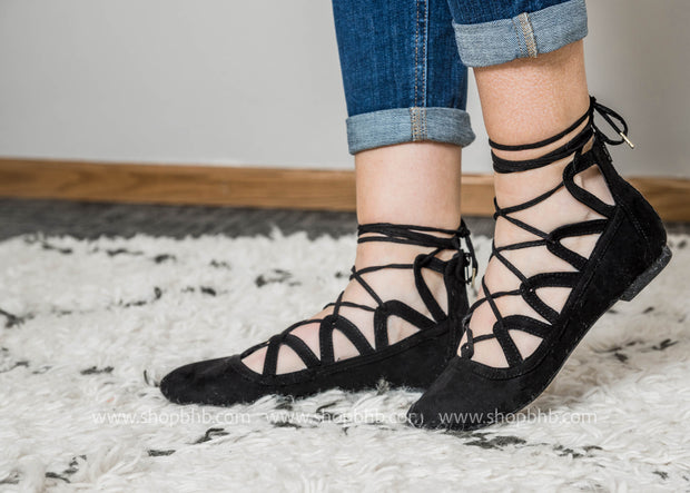 Criss Cross Lace Up Ballet Flats - Sparks-01, SHOES, East Lion Corp, BAD HABIT BOUTIQUE