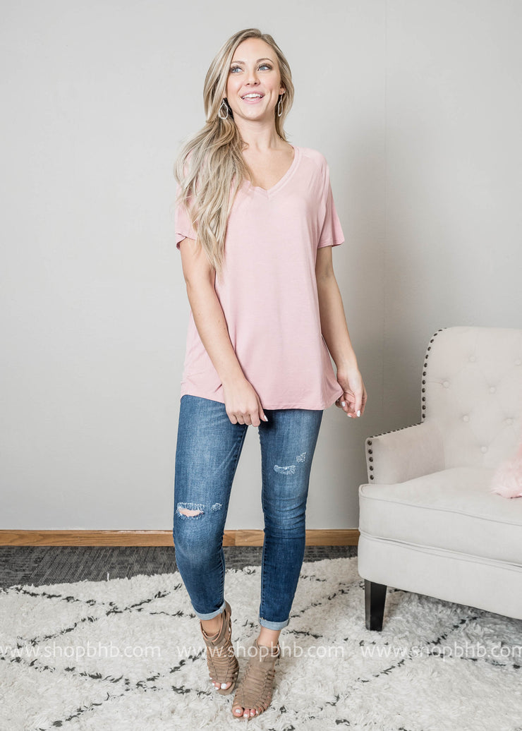Desert Rose Vneck Womens t-shirt paired with denim and booties