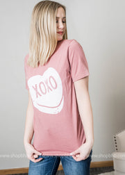 Mauve Bella Brand t-shirt with XOXO Candy Heart design in the center
